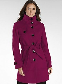 Raspberry Military-Inspired Belted Coat