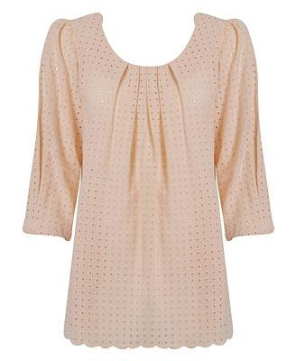 Woven Eyelet Tunic Top