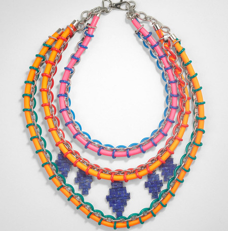 This woven rubber multistrand necklace from Tory Burch definitely makes a statement.