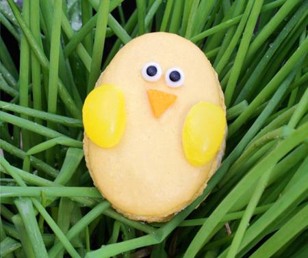 Yellow chick macaron