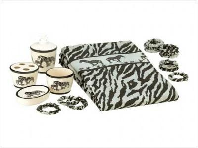 Zebra=print bathroom accessories