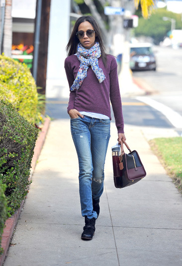 Zoe Saldana heads walks down Sunset Boulevard
