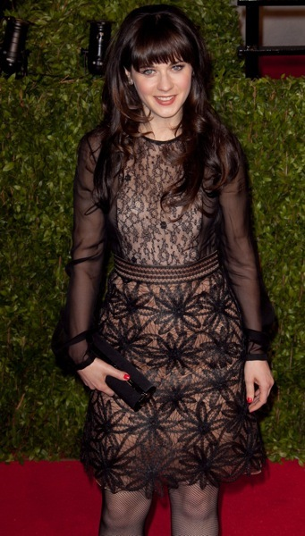 Zooey Deschanel in a lace overlay