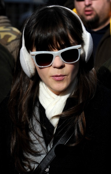 Zooey Deschanel in white sunglasses