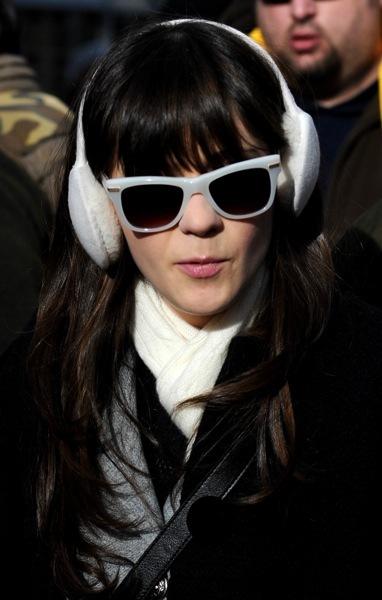 Zooey Deschanel in white sunglasses