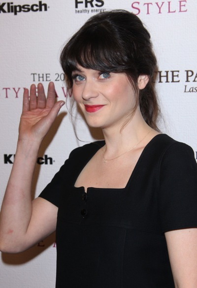 Zooey Deschanel with red lips