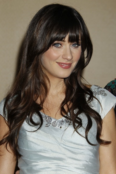 Zooey Deschanel with soft waves