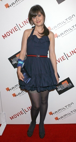 Zooey Deschanel in a blue dress