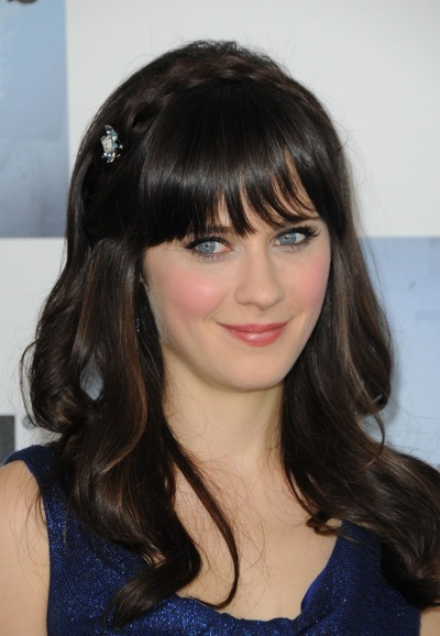 Zooey Deschanel with a side berrett