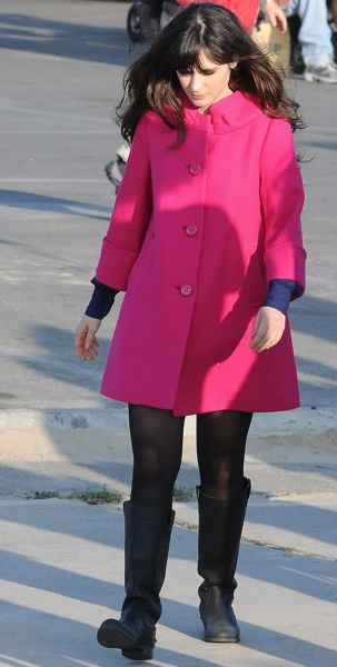 Zooey Deschanel in pink coat