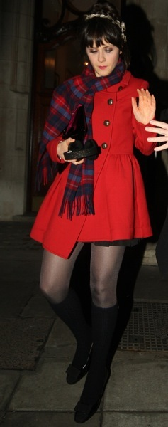 Zooey Deschanel in a peacoat