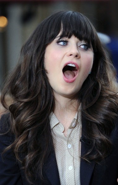 Zooey Deschanel in cascading curls
