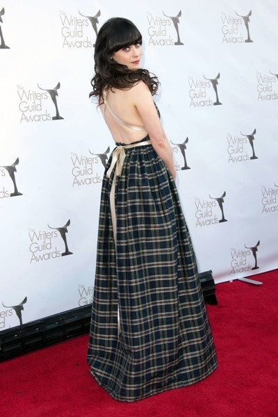 Zooey Deschanel backless dress