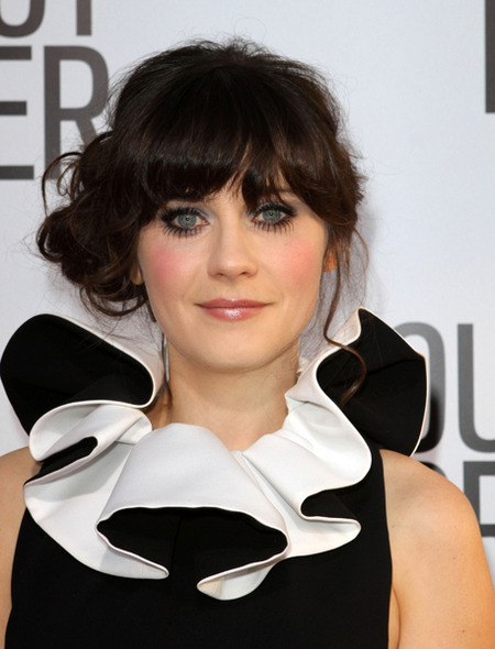 Zooey Deschanel side bun