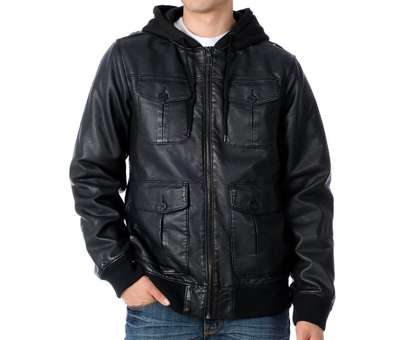 Mens Black Leather Hooded Bomber Jacket - Cashmere Sweater England