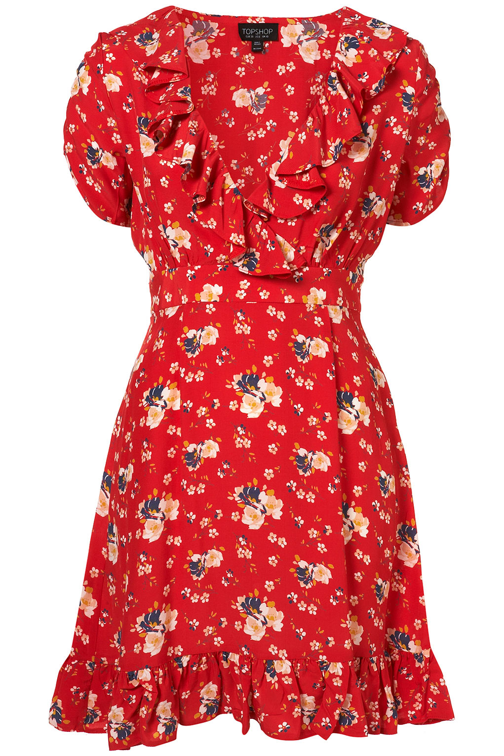Red Spring Meadow Print Ruffle Dress - Gift Ideas