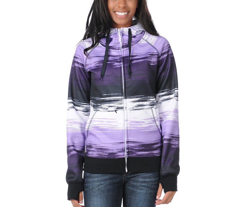 Empyre Girl Canyon Purple & Black Stripe 2012 Tech Fleece Zip Hoodie