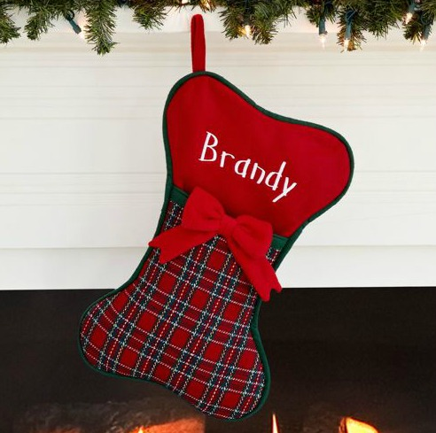 Personalized plaid dog stocking gift ideas for Personalized dog christmas stocking