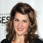 Nia Vardalos brunette, wavy hairstyle