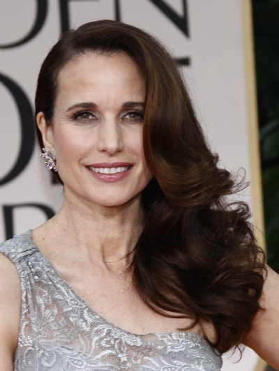 Andie MacDowell is side swept and gorgeous with this long, brown, ...