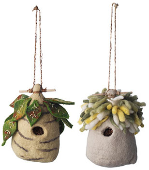 Felt birdhouses