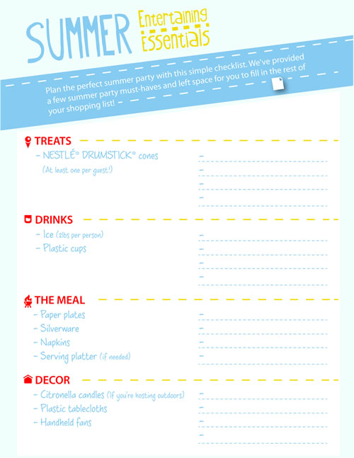Summer party checklist