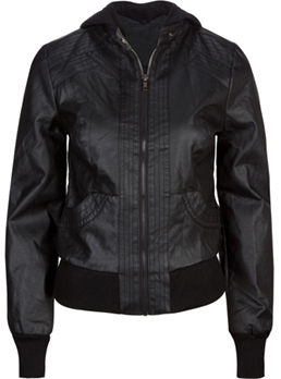 Faux Leather Womens Hooded Jacket