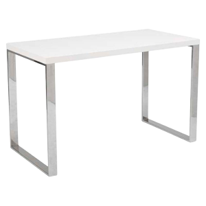 Dillon Desk in White Lacquer with Chrome Legs