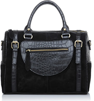 Classic leather handbag with croc pattern