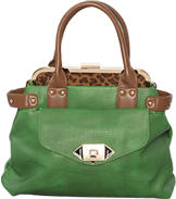 Satchel with leopard interior in green