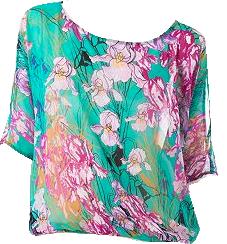 Floral Dolman Chiffon Top