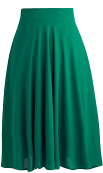 Flowing green skirt