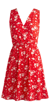 Red and white print dress