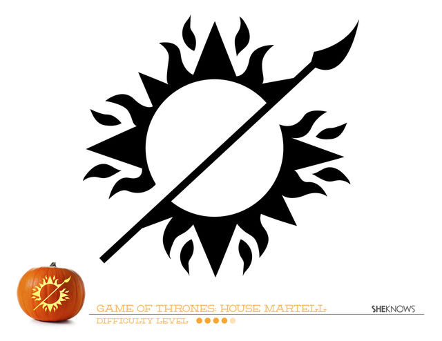 Game of thrones house martell pumpkin carving template