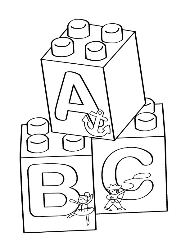 Coloring Pages Of Alphabet Blocks : Lego a b c blocks coloring page free printable