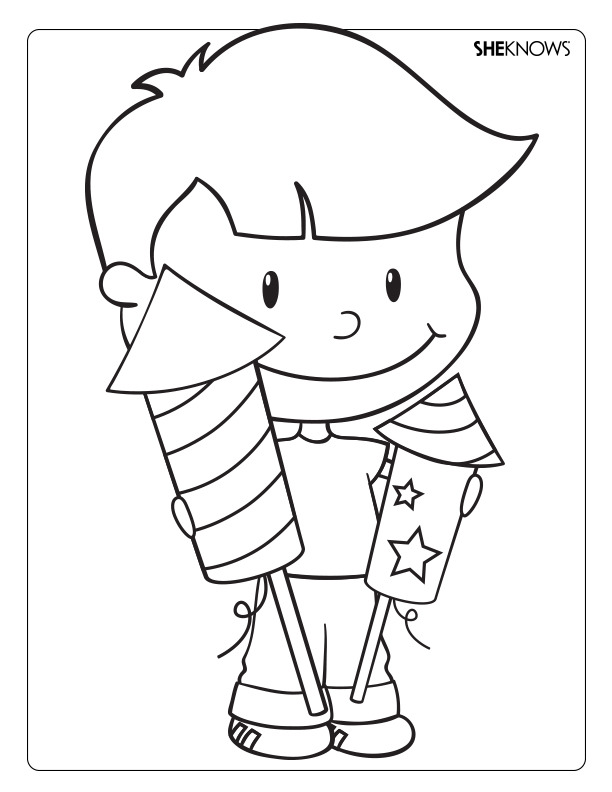 free animals fireworks coloring pages