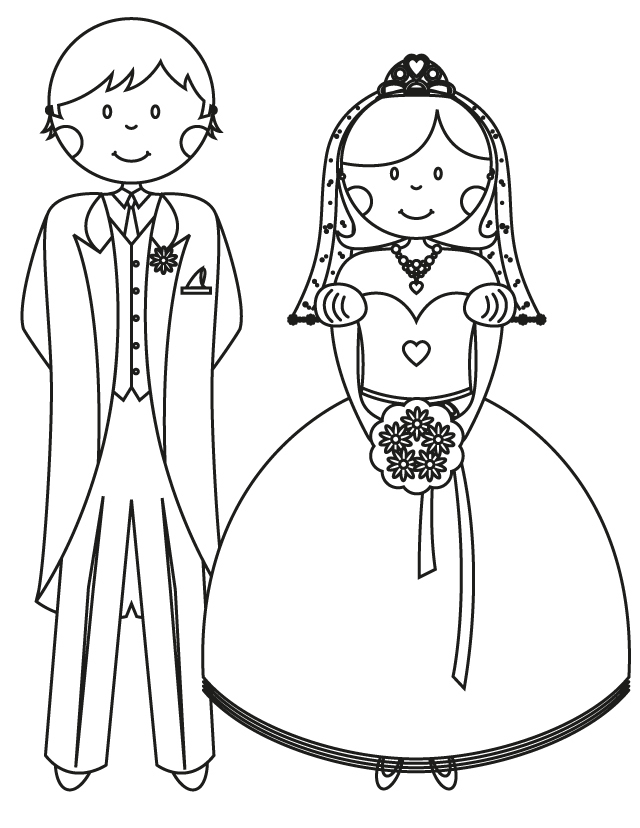 Wedding coloring pages Bride and