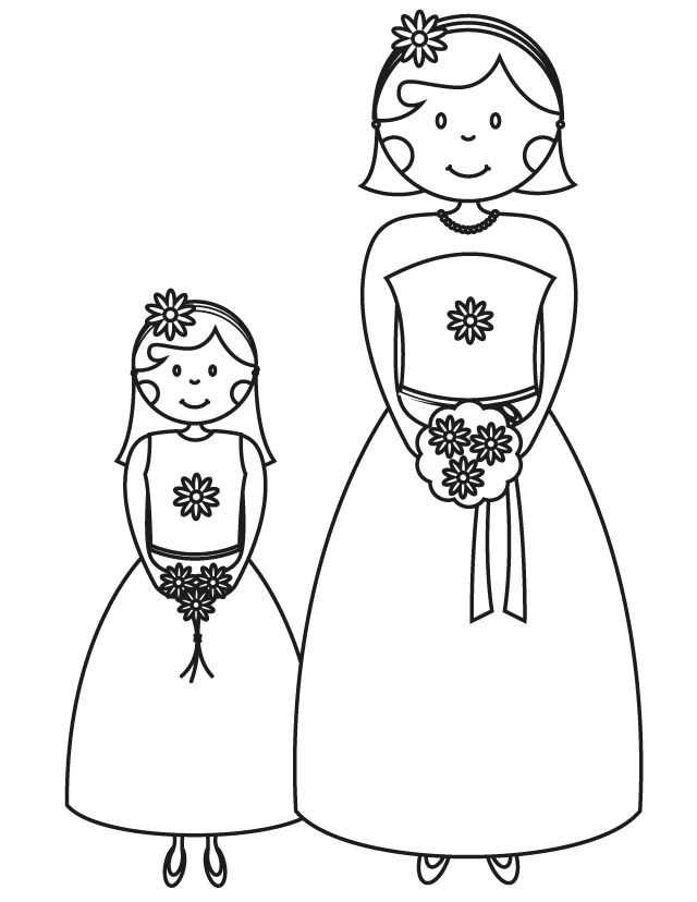 Printable Wedding Coloring Book Pages : Bridemaid colouring pages
