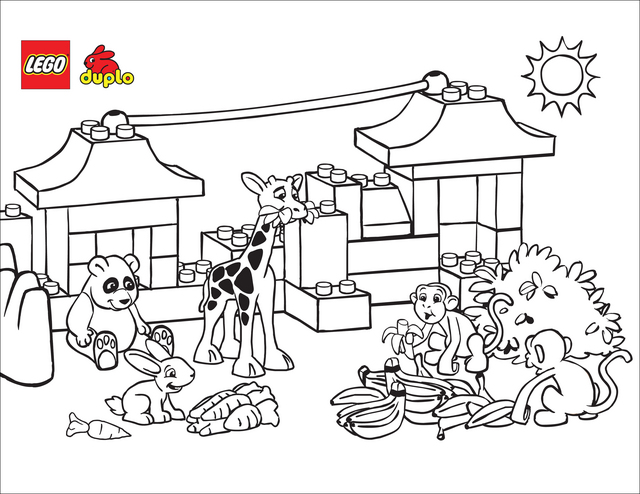 Printable Lego Colouring Pictures : Lego zoo coloring page free printable pages
