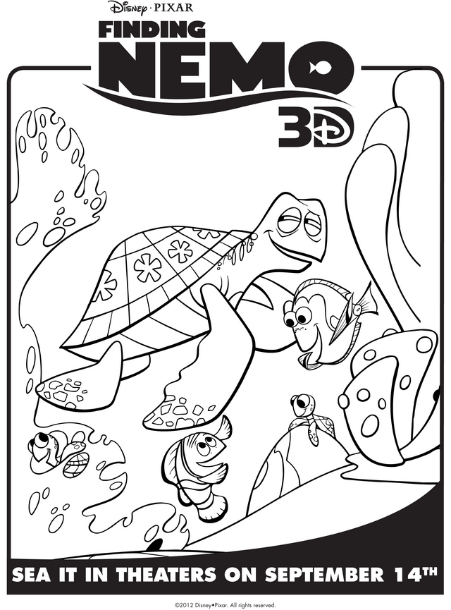 finding nemo crush coloring pages - photo#23