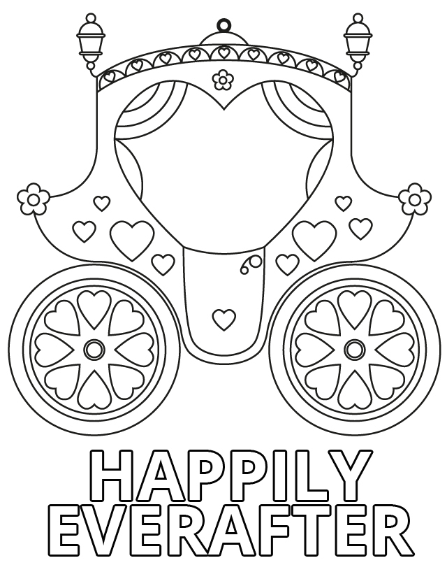 Wedding coloring pages: Happily ever after