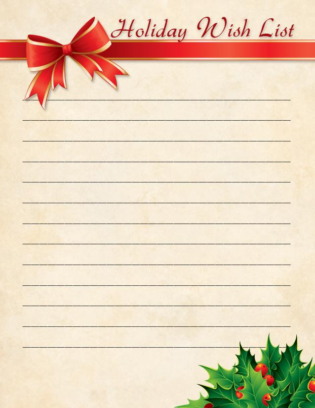 Christmas Wish List Free Printable