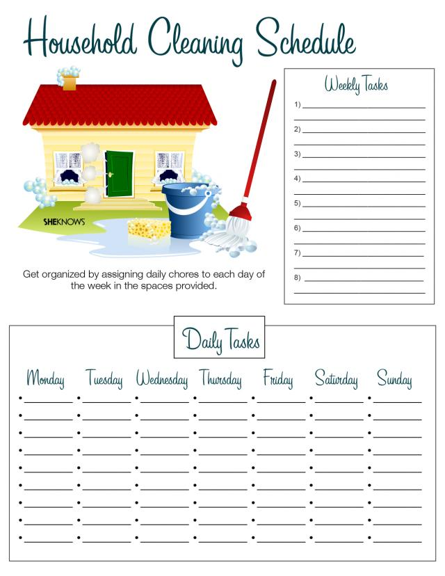 Printable checklists House cleaning schedule
