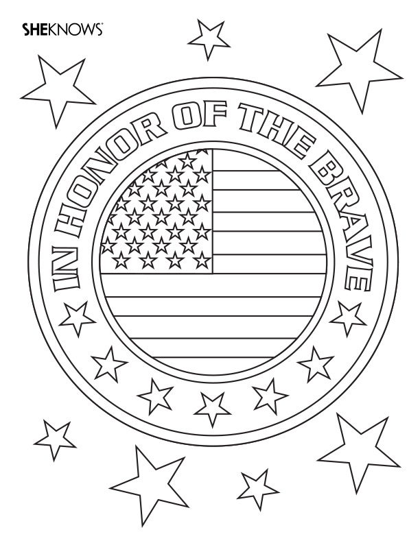 Badge of honor free printable coloring pages for Memorial day coloring pages for kids