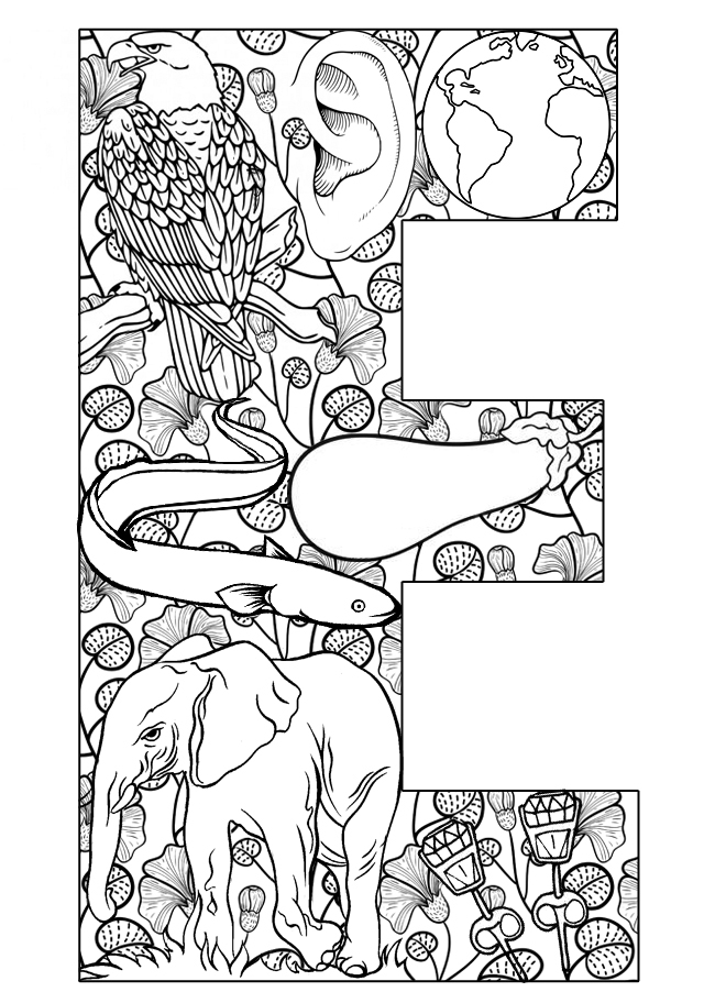 e coloring pages for kids - photo #31