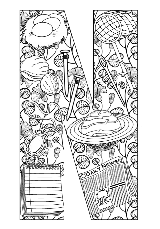 alphabet letters coloring pages n - photo#40