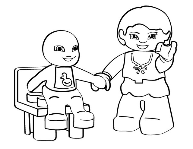 Cartoon coloring pages lego mom and kid for Girl lego coloring pages