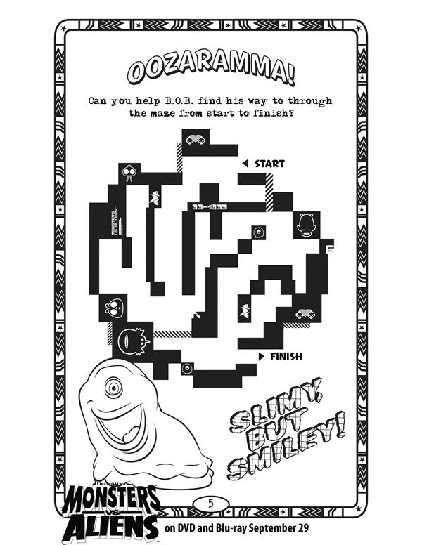 monsters vs aliens oozaramma free printable coloring pages