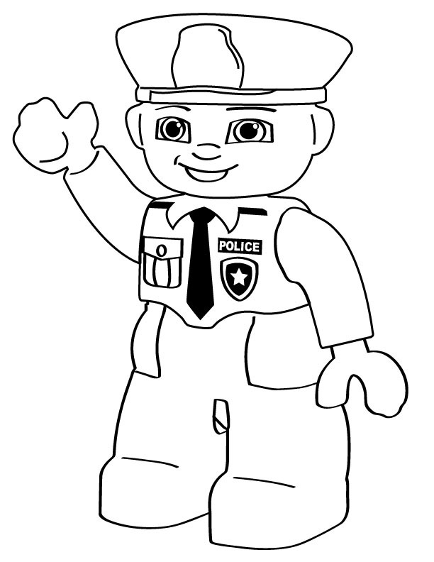 Cartoon coloring pages lego police person for Police officer coloring page