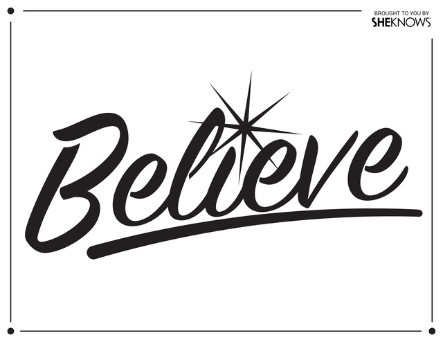 Believe wall stencil black free printable coloring pages